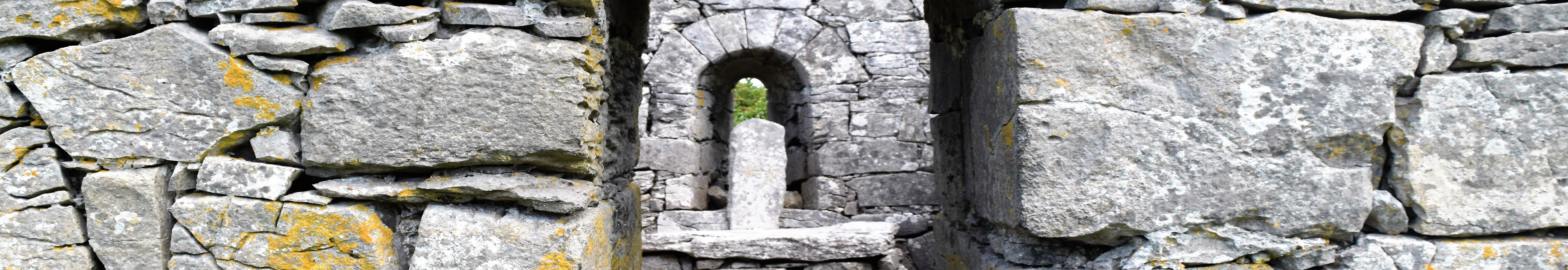 A close up of an ancient Irish Church
